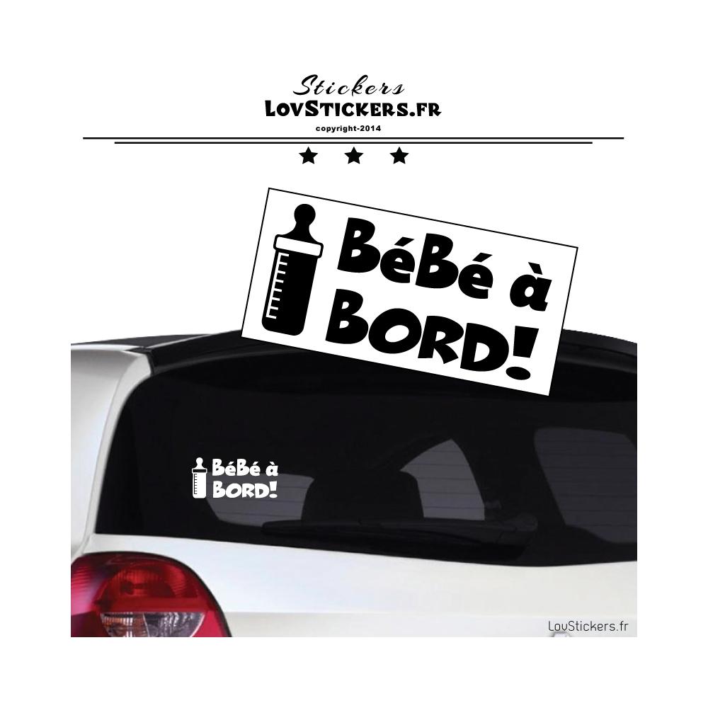 Stickers bébé à bord noir avec motif biberon