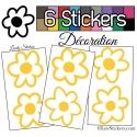 Stickers Muraux en planche kit de 6 fleurs de 9cm