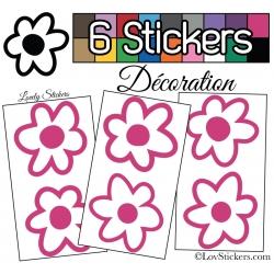 6 Stickers Fleurs Mixte - Autocollant Décoration Intérieur