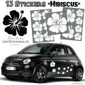 13 Stickers Hibiscus - Deco auto voiture pas cher autocollant