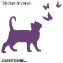 Sticker Chat et Papillons - Décoration intérieur en Vinyle - Nombreux coloris