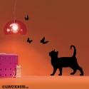 Sticker papillons avec chat, autocollant pas cher de decoration en vinyle