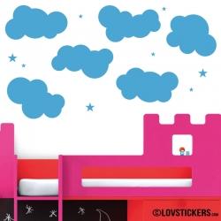 Nuages 25 cm - Lot de 6 nuages avec 12 Etoiles - Autocollant Décoration Intérieur