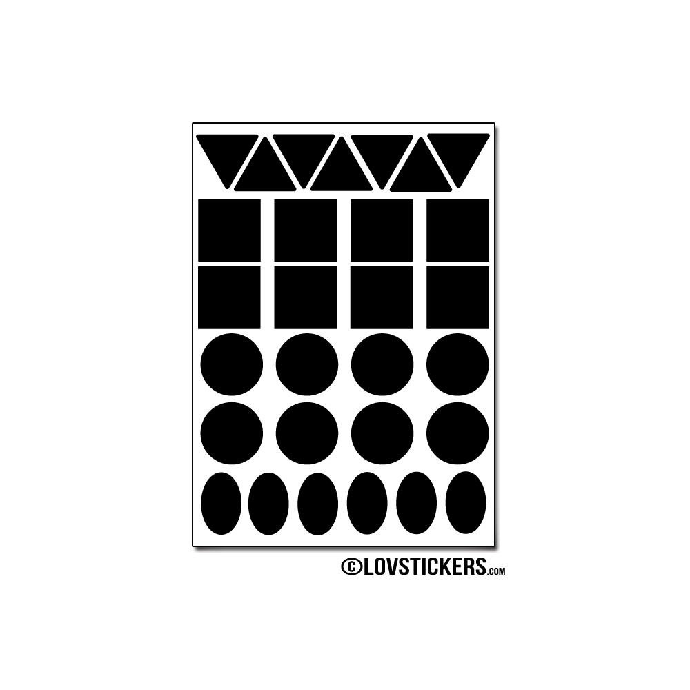 232 Stickers Mixte 1cm - Décoration Gommette Loisirs - Vinyle Repositionnable