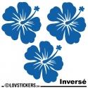 3 Sticker Hibiscus 20 cm - Décoration intérieur en Vinyle - Nombreux coloris