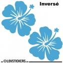 2 Sticker Hibiscus 30 cm - Décoration intérieur en Vinyle - Nombreux coloris