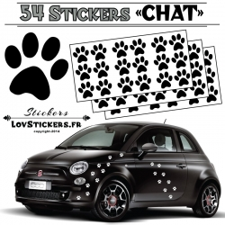 Lot de 54 Stickers Empreintes de Chat couleur