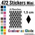 472 Stickers Losange 1,5 cm - Décoration Gommette Loisirs - Vinyle Repositionnable