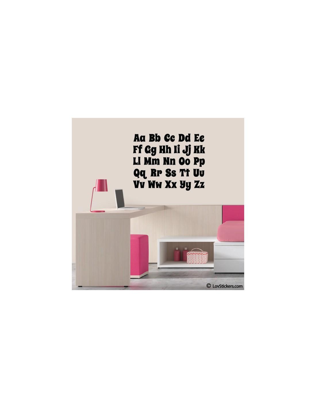Sticker alphabet 2 tailles disponibles décoration murale éducative