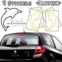 4 Stickers Dauphin 14cm - Deco auto voiture