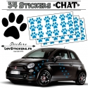 54 Stickers Empreintes de Chat - Deco auto voiture