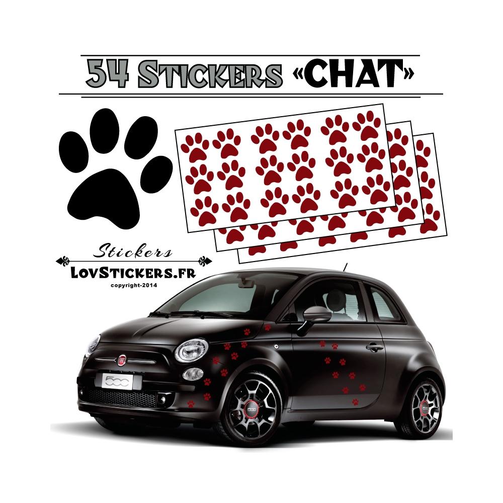 54 Stickers Empreintes de Chat - Deco auto voiture