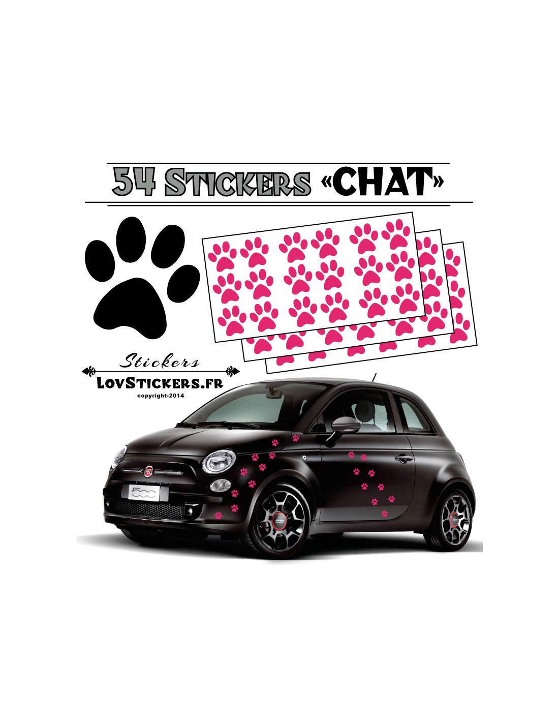 stickers autocollant pour voiture empreintes de chat. Black Bedroom Furniture Sets. Home Design Ideas