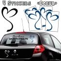 4 Stickers Coeur - Deco auto voiture