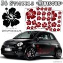 36 Stickers Hibiscus - Deco auto voiture