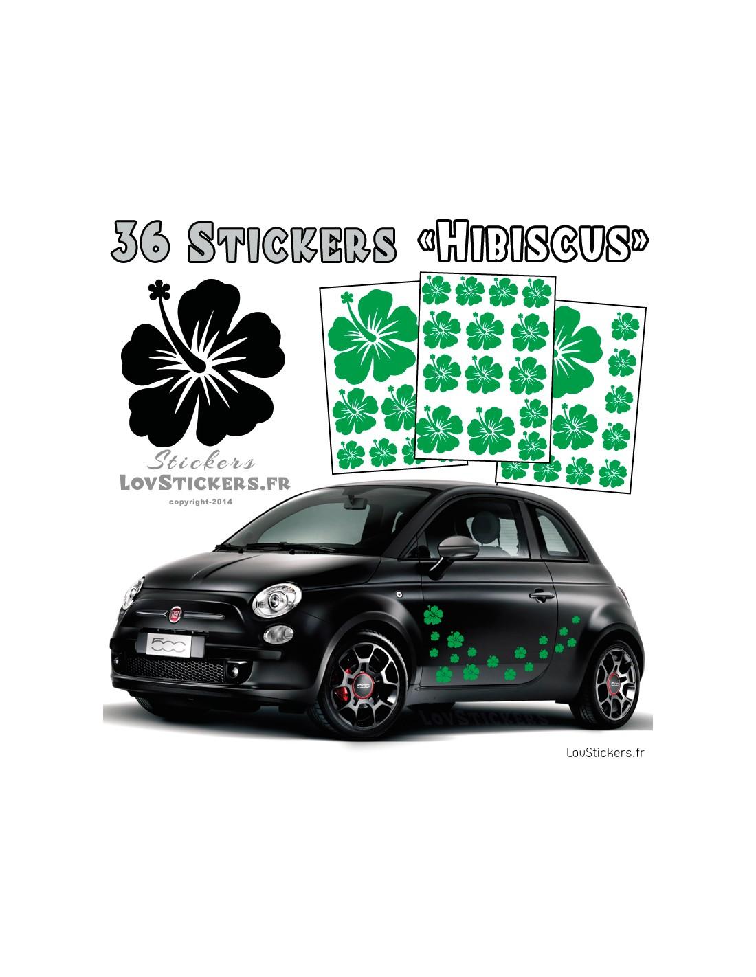 kit de stickers hibiscus pour deco voiture