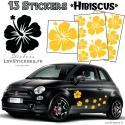 13 Stickers Hibiscus - Deco auto voiture