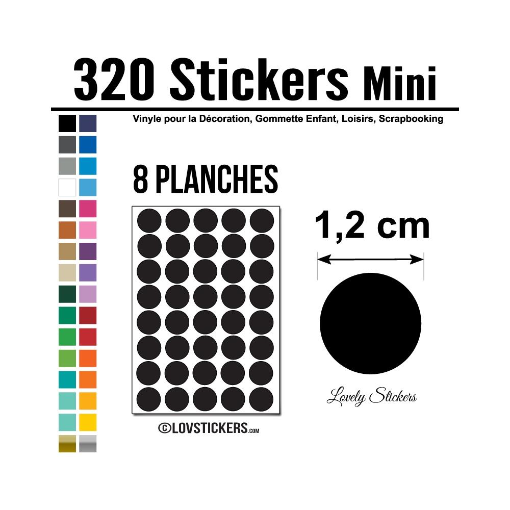 320 Ronds 1,2cm - Gommette Deco - Repositionnable - Vinyle