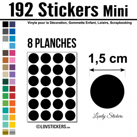 192 Stickers Ronds 1,5cm - Décoration Gommette Loisirs - Repositionnable