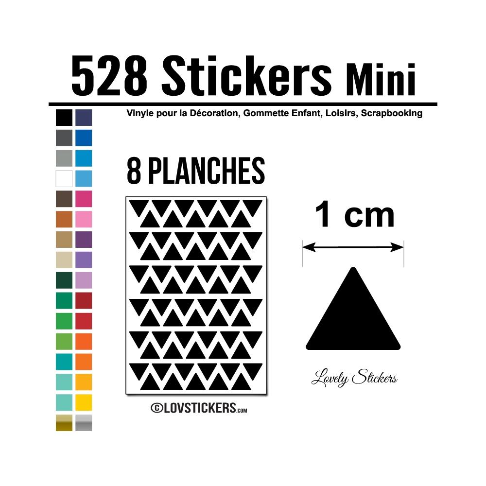 528 Triangles 1cm - Gommette Triangle Deco Repositionnable en Vinyle