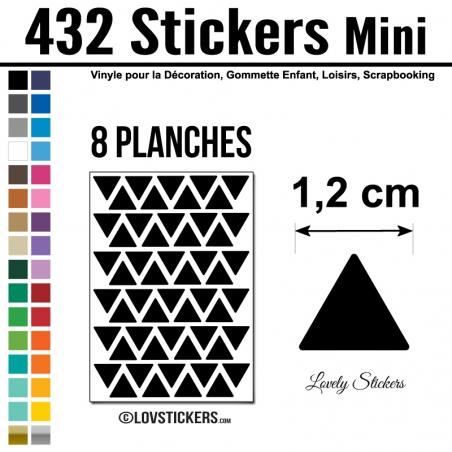 432 Triangles 1,2cm - Gommette Triangle Deco Repositionnable en Vinyle