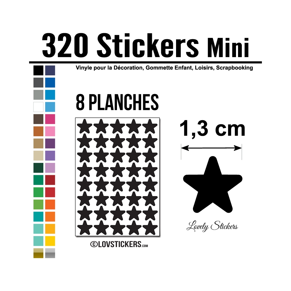 320 Etoiles 1,3cm - Gommette Deco Repositionnable en Vinyle
