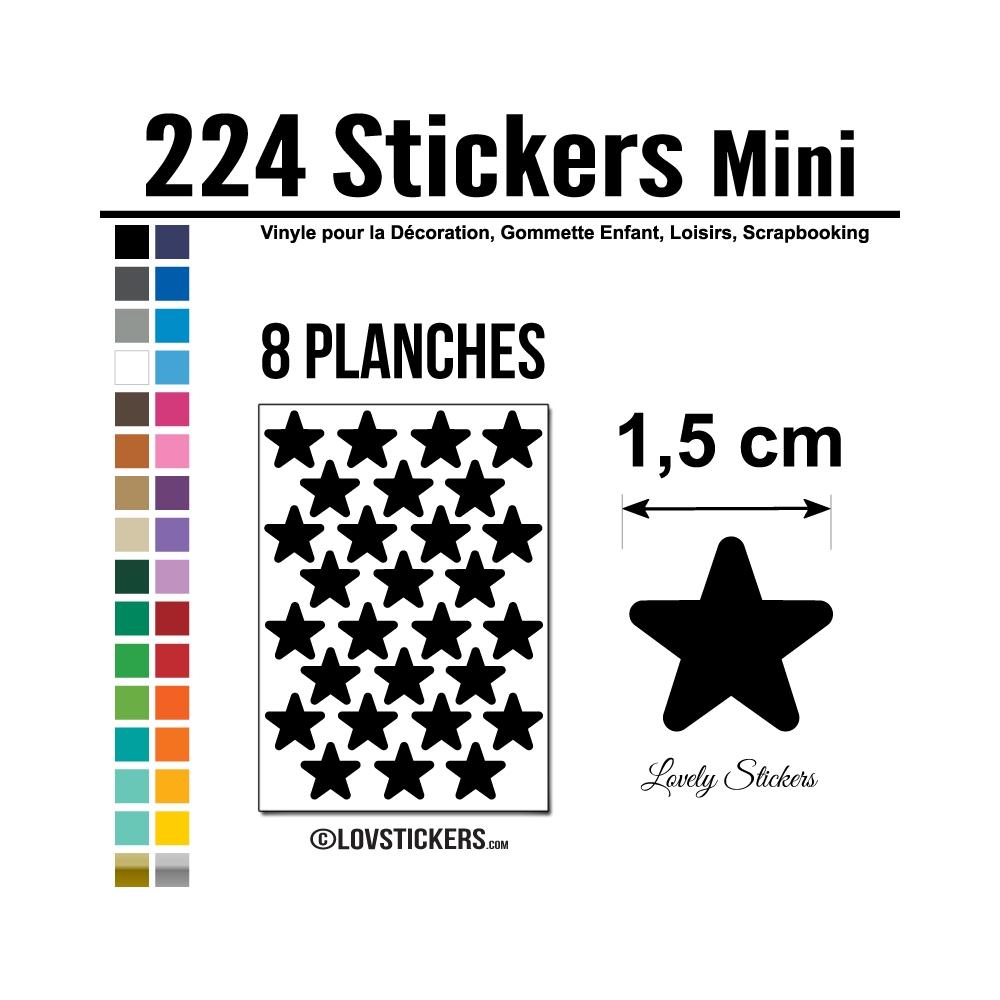 224 Etoiles 1,5cm - Gommette Deco Repositionnable en Vinyle