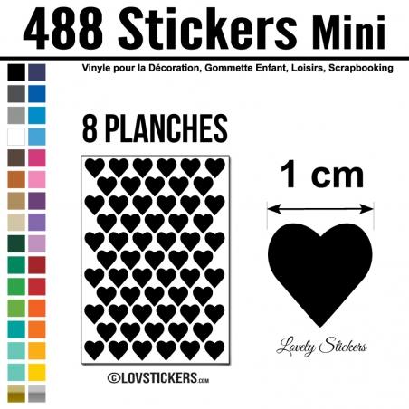488 Stickers Coeur 1cm - Décoration Gommette Loisirs - Vinyle Repositionnable