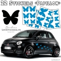 22 Stickers Papillons Mixte - No1 - Deco auto voiture papillons