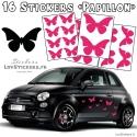 16 Stickers Papillons Mixte - Deco auto voiture papillons