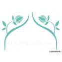 2 Stickers Fleur Tribal 30 cm - Deco auto voiture