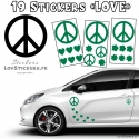 19 Stickers Peace and Love - Deco Vinyle pour auto voiture
