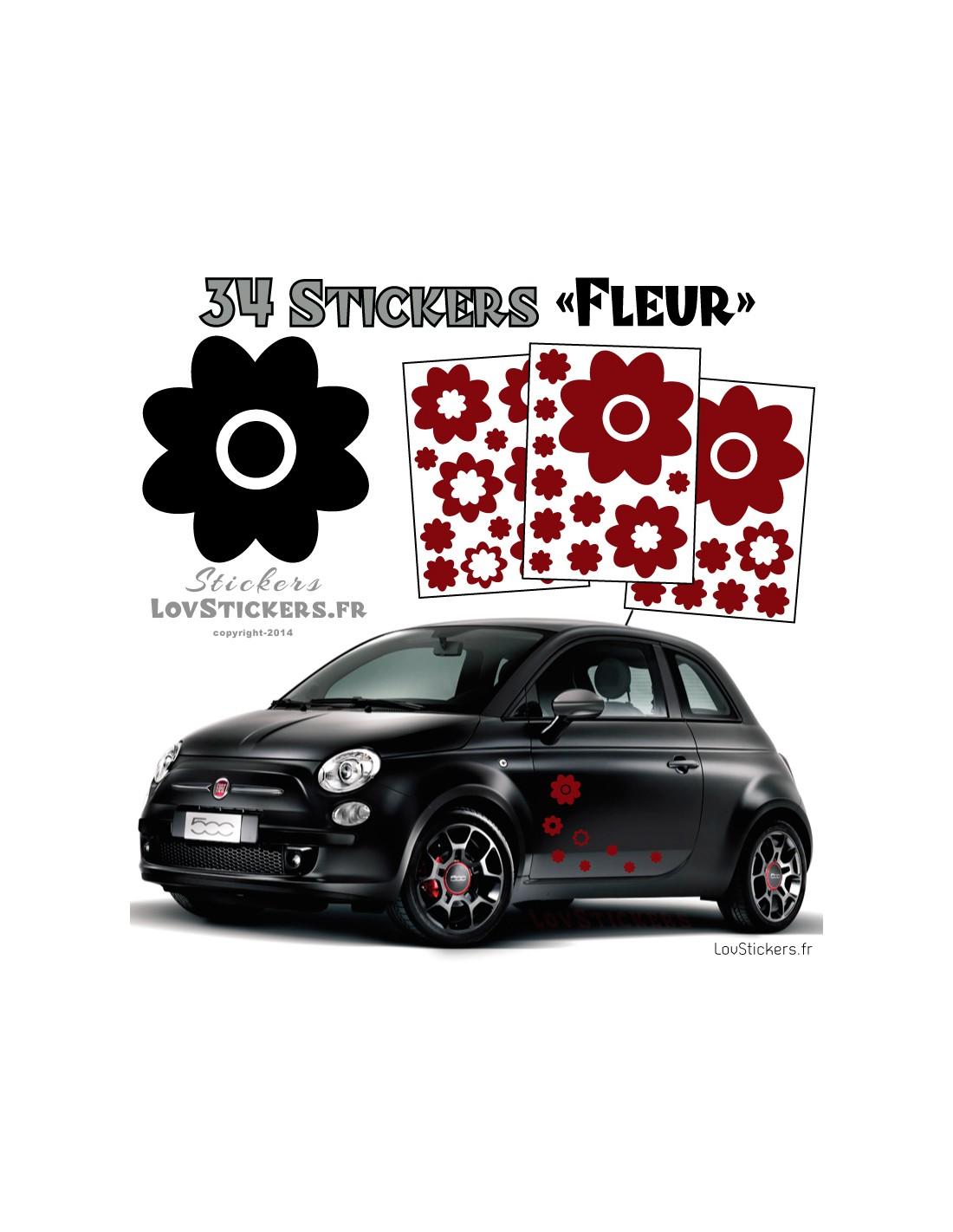 kit de 34 stickers fleurs pour deco voiture. Black Bedroom Furniture Sets. Home Design Ideas