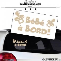 Sticker Bébé à Bord ! Coloris beige - Sécurité enfant voiture