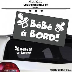 Sticker Bébé à Bord ! Coloris blanc - Sécurité enfant voiture