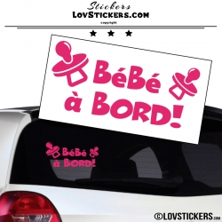 Sticker Bébé à Bord ! Coloris rose fushia