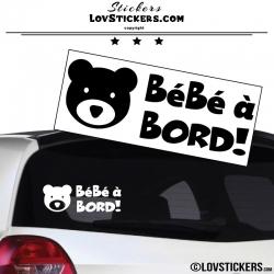 Sticker Bébé à Bord Ours noir ! - Securité enfant voiture
