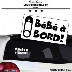 Sticker Bébé à Bord! Epingle Noir - Securité enfant voiture