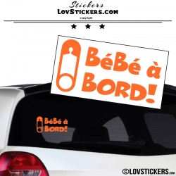 Sticker Bébé à Bord! orange avec Epingle