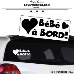 Sticker Bébé à Bord noir avec Coeurs