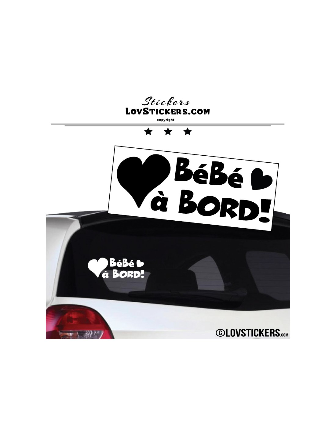 sticker b b bord coeur securit enfant voiture 4 99. Black Bedroom Furniture Sets. Home Design Ideas