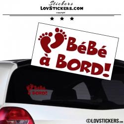 Sticker Bébé à Bord! - Pieds de Bébé - Securité enfant voiture