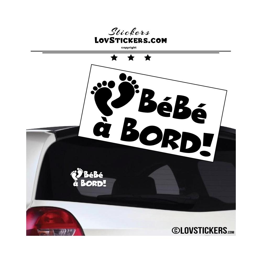 Sticker Bébé à Bord! - Pieds de Bébé de couleur noir