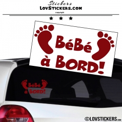 Sticker Bébé à Bord! - Pieds de Bébé 2- Securité enfant voiture