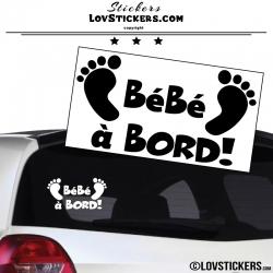Sticker Bébé à Bord noir avec paire de pieds de Bébé
