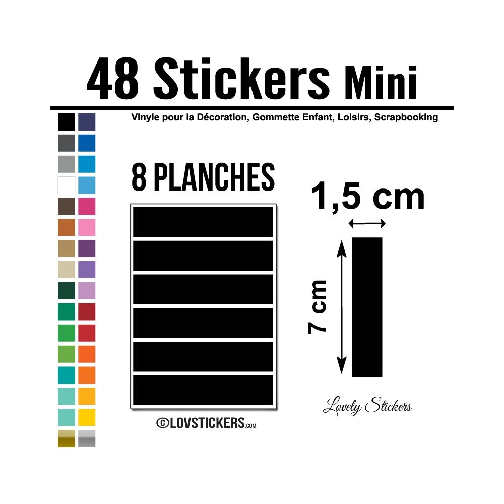48 Stickers Ligne 1,5cm - Décoration Gommette Loisirs - Vinyle Repositionnable