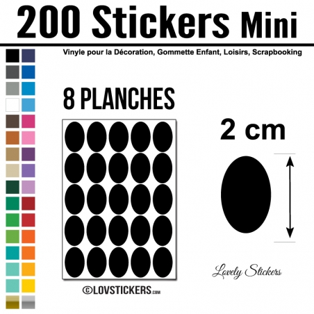 200 Stickers Ovale 2cm - Décoration Gommette Loisirs - Repositionnable