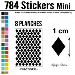 784 Stickers Losange 1cm - Décoration Gommette Loisirs - Vinyle Repositionnable