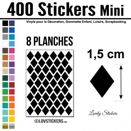 400 Stickers Losange 1,5cm - Décoration Gommette Loisirs - Repositionnable