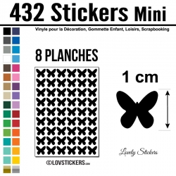 432 Stickers Papillon 1cm - Décoration Gommette Loisirs - Repositionnable